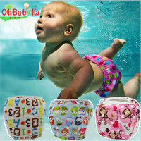 Wholesale toddler cloth nappies - Baby Boys Girls Reusable Swim Diaper UnisexTraining Pants Cute Cartoon Toddler Swimming Nappies Summer Swimwear Short Trunks