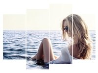 Wholesale oil painting canvas body - 4pcs set Unframed Sea Beauty Girl Nice Body Print On Canvas Wall Art Picture For Home and Living Room Decor