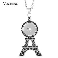 Wholesale Stainless Steel Necklace Eiffel - NOOSA Eiffel Tower Necklace Ginger Snap Jewelry Pendant 18mm with Stainless Steel Chain VOCHENG NN-405