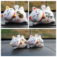 Wholesale Solar Power Lucky Cat - 1 Pc Solar Powered 4'' Maneki Neko Lucky Waving Beckoning Fortune Cat Home Decor Cartoon Style YYY9126