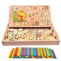Wholesale Wooden Math Sticks - Baby Toy Blackboard Counting Stick Wooden Toys Educational Arithmetic Rods Clock Math Game Sticks Multifunctional Learning Box Child Gift