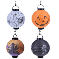 Halloween Décoration LED Paper Pumpkin Light Pendentif Lanterne Lampe Halloween Props Outdoor Party Supplies