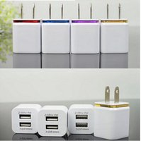 Wholesale Huawei Tablets S7 - Metal Dual USB Wall Charger US EU Plug 2.1A AC Power Adapter chargers Travel for Samsung s7 s8 edge huawei Tablet