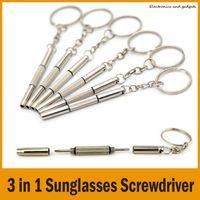 Wholesale Flat Head Nuts - Mini 3 in 1 Keychain Sunglasses Screwdriver Mobile Phone Watch Repair Tool Flat Head Screwdriver   Phillips Screwdriver   Star Nut Driver