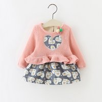 Wholesale Girls 3t Fall Clothes - Little Girls Ruffle Heart Dresses Plus Fleece 2017 Fall Winter Kids Boutique Clothing Little Girls Knit Top Long Sleeves Dresses