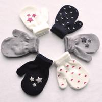 Wholesale Knit Crochet Baby Patterns - Winter Autumn Baby Crochet Warm Glove 5 Star Pattern Knitted Children Boys Girls Mittens Unisex Kids Gloves