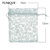 FUNIQUE 25pcs 10cmx12cm White Star Moon Organza Bolsa de jóias Bolsa de presente Bolsas Wedding X-mas Favor For Jewelry Packaging