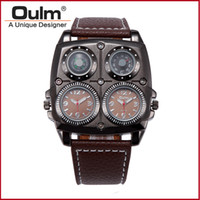 Wholesale Watch Double Time - New Arrival Mens OULM 1140 Top Brand Watches High Quality Leather Double Japan Movt Quartz Rectangular Military Watch Black