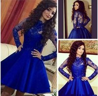 Wholesale Short Cheap Stylish Dresses - Stylish Royal Blue Lace Stain Short Summer Holiday Beach Party Homecoming Dresses Scoop Long Sleeve Cheap Graduation Prom Dress