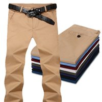 Wholesale Flat Front Pants - Mens' Comfort Khaki pants casual Flat-Front Suit trousers male Chino Dylan Pant without belt 8 colors