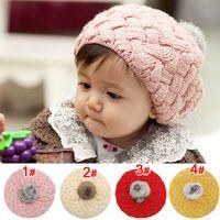 Wholesale Wholesale Baby Beret - Wholesale 10 pcs Unisex Child Cable Slouch Knit Beanies With Soft Faux Fur POM POM Hats Kids Baby Winter Warm Cap Skullcap Berets MZ0195