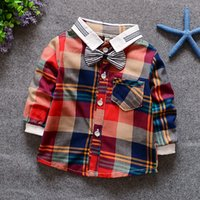 Wholesale European Style Blouses - Wholesale-2016 summer european style 0-2 years old baby boy blouses lapel color matching plaid bow long sleeve casual brand cotton shirt