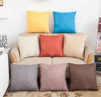 Wholesale Pillow Case Cushion Cover 17 - 17 Colors Pillowcase Solid Color Cotton Linen Square Design Throw Pillow Case Cushion Cover Decor Pillow Case Blank Christmas Decor Gift