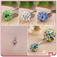 Wholesale Navel Percing - 10pcs mixed color Barbell Rhinestone Crystal Body Jewelry Navel Belly Button Rings Percing Piercing Belly Ring Bijoux Pirsing Nombril