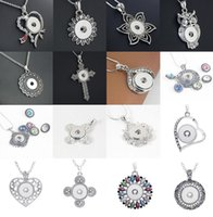 Wholesale Vintage Sweater Buttons - New 5 Pieces Women's Mix Styles Vintage 18mm Ginger Snap Chunk Charm Buttons Pendant Necklaces Sweater Chain wholesale lot