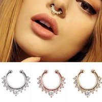 Wholesale Clip Nose Rings - Hot Fake Clip On Non Piercing Rhinestone Septum Nose Ring Faux Click Body Jewelry Free Shipping