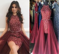 Wholesale maroon chiffon - Sparkly Crystal Beading Maroon Red Short Prom Dresses Jewel Neck Sheath Sleeveless Tulle Over Skirt Cocktail Party Dresses Pageant Dresses