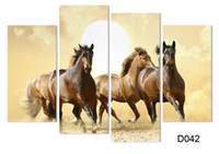 4Panel Modern Horse Canvas Painting 4 Painel Set Abstract Canvas Art Wall Hangings Restaurante Decoração Imagens H / 008