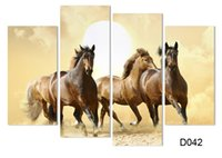 Wholesale Horse Art Canvas Set - 4Panel Modern Horse Canvas Painting 4 Panel Set Abstract Canvas Art Wall Hangings Restaurant Decoration Pictures H 008