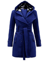 Wholesale Bow Wool Coat - New Plaid Hooded Coats Belt double-breasted long coat woolen Outerwear women's long wool winter coats 8753