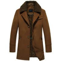 Wholesale Winter Trenchcoat - Fall-2016 New Fur Collar Trench Coat Men Long Thick Mens Overcoat Winter Trenchcoat Men Manteau Homme