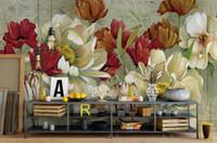 tintas de tulipa venda por atacado-Paisagem rural Pintados à Mão-flores tulipa Grande papel papel de parede Sala de estar Papel De Parede Europeu Retro Retroiluminado TV Pintura Decorativa