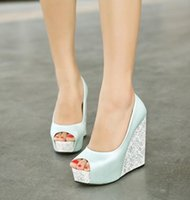 Wholesale Taiwan Wedges - 2018 Spring summer New style Women high-heeled shoes Heavy base Platform shoes Waterproof Taiwan increased wedge fish's mouth women shoes
