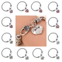 Wholesale Faith Diamond - 45 types Diamond love Heart bracelet crystal family member Mom Daughter Grandma Believe Faith Hope best friend wristband for women