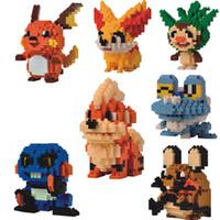 ingrosso bloccare giocattoli animali-LNO 8.5cm dimensioni scatola pikachu serie Frassino, maggio, Dawn, Misty, Iris, animale domestico ect nano 3d cartoon modello regalo giocattolo blocchi # 234
