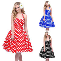 Wholesale Vintage Women Dresses Dots Rockabilly - 2016 Hot sale Deep V-Neck Polka Dot Swing 50's Housewife Pinup Dress Three color Rockabilly Vintage sleeveless mini Dresses