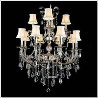 Wholesale 12 Arm Chandelier - Classic 12 Arms Silver or Gold Crystal Chandelier Lighting Fixture Lustre Crystal Hanging Lamp with K9 Crysta MD88061