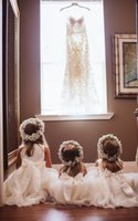 Wholesale Girls Pageant Dreses - Cute White Floor Lenth Flower Girls Dreses 2017 With Sash Bow Tull For Chic Wedding First Communion Kids Pageant Gown Custom Made Cheap