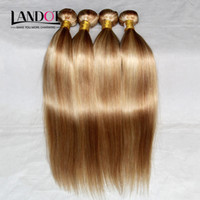 Wholesale Brazilian Blond Weave - Piano Human Hair Weave Brazilian Malaysian Indian Peruvian Straight Hair Extensions Bundles Mix Color Honey Blond 27 Bleach Blonde 613# Hair