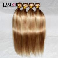 sarışın örgü uzantıları demeti toptan satış-Piyano İnsan Saç Dokuma Brezilyalı Malezya Hint Perulu Düz Saç Uzantıları Demetleri Mix Renk Bal Sarışın 27 / Ağartıcı Sarışın 613 # Saç