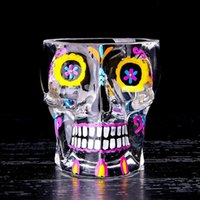 Pintado colorido Magic Skull Shot Glass 70ML Esqueleto Whisky Cup Glass Bilayer Bar Vino Cerveza Drinkware Gift Tea Cup 50pcs OOA3064