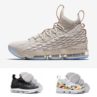 Wholesale Ash Canvas Sneakers - With Original Box New Top Quality Real Zoom LeBron 15 Ashes Ghost Mens Basketball Shoes Space LBJ Jams Running Sneakers US 7-12