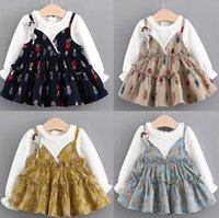 Wholesale Hot Beetles - 4 color autumn hot sell Korean style new arrivals Girls Sanding sling false two long sleeved cotton Dress cute beetle print dress free ship