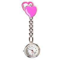corazón de bolsillo de acero al por mayor-Envío gratis Nueva Llegada Doble Corazón Enfermera Reloj de Bolsillo de Acero Inoxidable Números Árabes Cuarzo Broche Médico Enfermera Bolsillo Reloj de Bolsillo