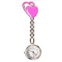 ingrosso cuore in tasca d'acciaio-Trasporto libero Nuovo arrivo doppio cuore infermiera orologio da tasca in acciaio inox numeri arabi quarzo spilla medico infermiera Pocket Fob Watch