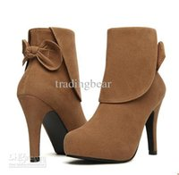 Wholesale Cheap Sexy Ankle Boots - Sexy Elegant Bowknot Zipper Side Cheap Womens Boots Ankle Boots Heels 2 Colors Camel Black