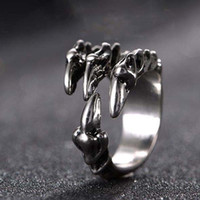 Wholesale Gothic Claw Rings - Punk Rock Stainless Steel Mens Resizable Dragon Claw Rings Vintage Gothic Jewelry Silver Color Dragon Claw Men Ring