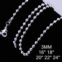 Fashion 925 Silver Beautiful Ball Chains 3mm 16/18/20/22/24 inch Tone Beads chain Collier Bijoux C006