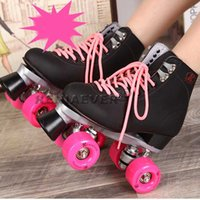 Barato Preto, Adultos, Rolo, Patins-Atacado-Black Roller Skates Double Line Skates Homens Mulheres Lady Modelo Adulto Pink F1 Racing 4 Rodas Two line Roller Skating Shoes Patines