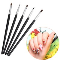 Wholesale Home Nail Acrylic Set - Wholesale- 5PCS  Set Color Painting Drawing Nail Art Acrylic UV Gel Salon Pen Flat Brush Kit Dotting Tool for professional and home use