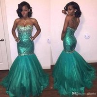 Wholesale Turquoise Organza Prom Dress - Turquoise Mermaid Prom Dresses Sexy Black Girls Formal Evening Gowns Strapless with Rhinestones Court Train Red Carpet Gowns Custom BA2546