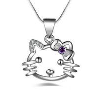 sterlin gümüş kedi takılar toptan satış-Hello Kitty kedi charm Kolye Kolye sıcak marka Yeni moda popüler ametist kolye 925 Ayar gümüş Yüksek kalite takı