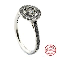 Wholesale Allure Fashion - Vintage Allure, Clear CZ 100% 925 Sterling Silver Bead Fit Pandora Ring Fashion Jewelry DIY Charm Brand