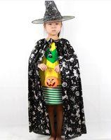 zauberer kleidung großhandel-Halloween Kinder Kleidung Zauberer Mäntel Kinder Mantel Hexe Mantel + Hut zwei Sätze Party Dekoration Kinder reichlich Hexe Mantel Mützen