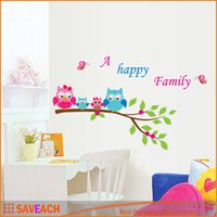 Wholesale wall sticke - Kid's Child Room Decal DIY Home Decoration Cartoon Cute Happy Owl Family Wall Sticke Wallpaper Stickers Art Decor Mural
