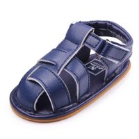 Wholesale Toe Loop Sandals Wholesale - 2016 New Baby Sandals for Girls PU Leather Cross-tied Upper Toe Protection Hook&loop T-tied Anti-slip Hard TPR Sole Toddler Shoes